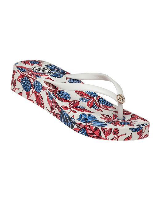 Tory Burch | Red Thandie Rubber Wedge Flip-Flops | Lyst