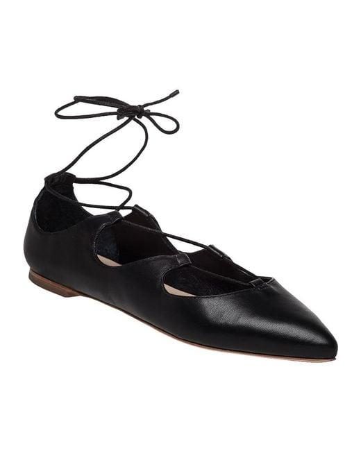 Loeffler Randall | Black 'ambra' Pointy Toe Ghillie Flat | Lyst