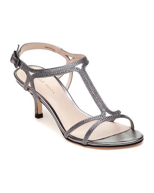 Pelle Moda | Metallic Abbie 2 Pewter Leather Embellished Evening Sandal | Lyst