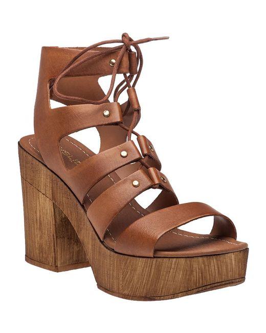J/Slides | Brown Amelia Cognac Leather Sandal | Lyst