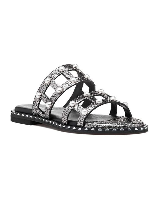 275 Central | Black Kc1 Sandal Gunmetal Leather | Lyst
