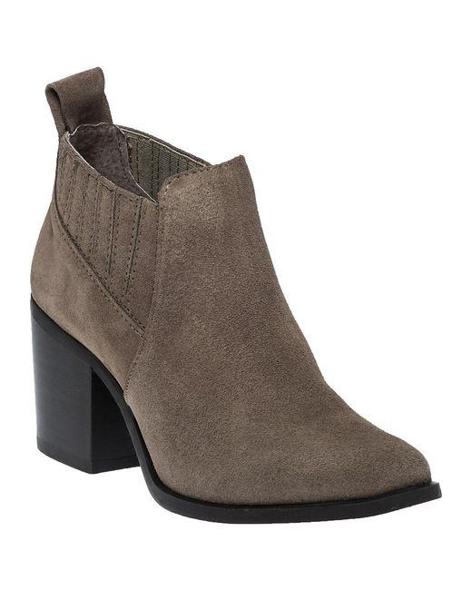 Steve Madden - Brown Pauze Taupe Suede Ankle Bootie - Lyst