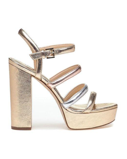 7b2eb96d048 ... MICHAEL Michael Kors - Metallic Nantucket Platform Sandal Gold Multi -  Lyst ...