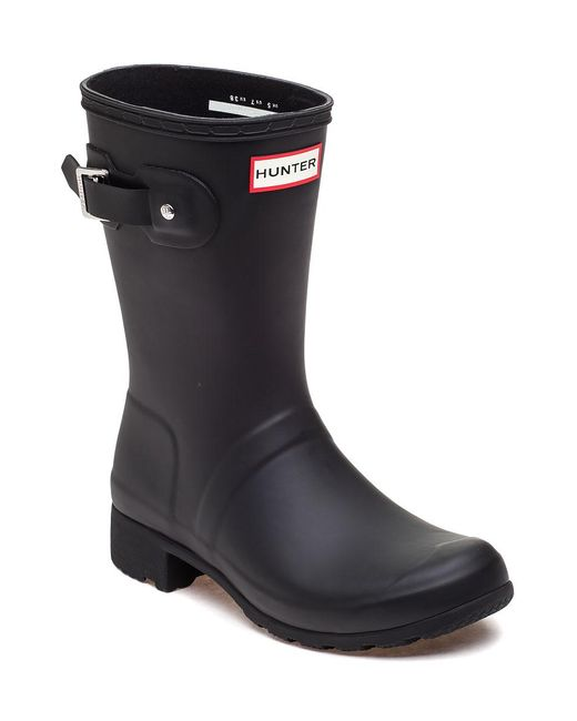 Hunter - Original Tour Short Black Rubber Rain Boot - Lyst