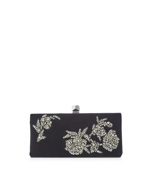 Jimmy Choo - Blue Celeste/s Navy Velvet Clutch Bag With Peony Crystal Embroidery - Lyst