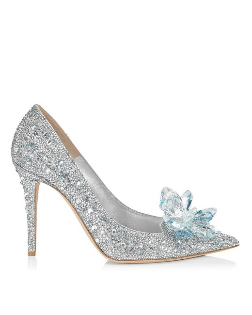Jimmy Choo Metallic Avril Crystal Covered Pointy Toe Pumps Crystal 34