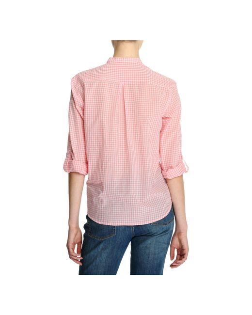 Joe fresh gingham popover shirt in pink lyst for Pink gingham shirt ladies