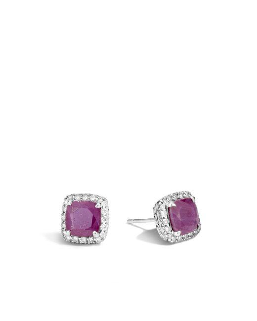 John Hardy   Purple Magic Cut Stud Earring, Indian Ruby And Diamonds   Lyst