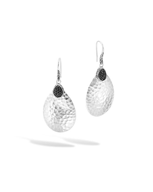 John Hardy | Metallic Classic Chain Hammered Small Drop Earring, Black Sapphire | Lyst