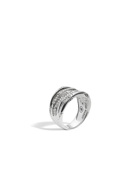John Hardy | White Bamboo Ring With Diamonds | Lyst