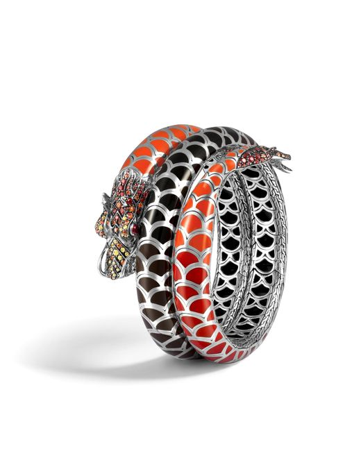 John Hardy   Naga Double Coil Bracelet With Red Sapphire   Lyst