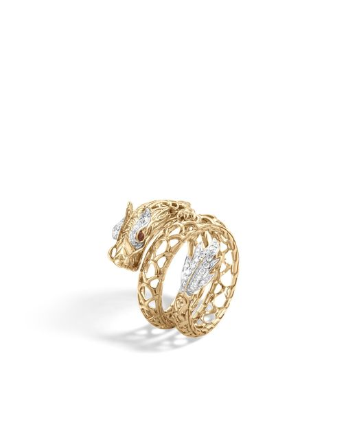 John Hardy   Red Naga Coil Ring With Diamonds   Lyst