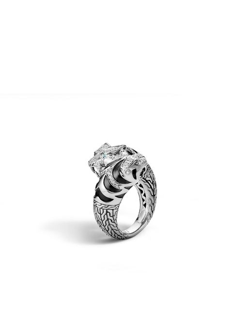 John Hardy | Metallic Macan Double Head Bypass Ring With Diamonds | Lyst