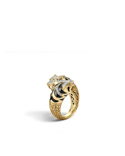 John Hardy | Blue Macan Double Head Bypass Ring With Diamonds | Lyst