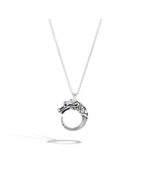 John Hardy - Naga Brushed Pendant Necklace, Black Sapphire, Black Spinel - Lyst