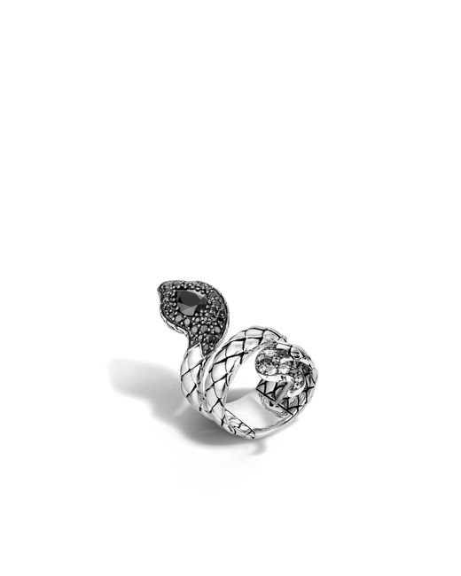 John Hardy   Cobra Coil Ring With Black Chalcedony And Diamonds   Lyst