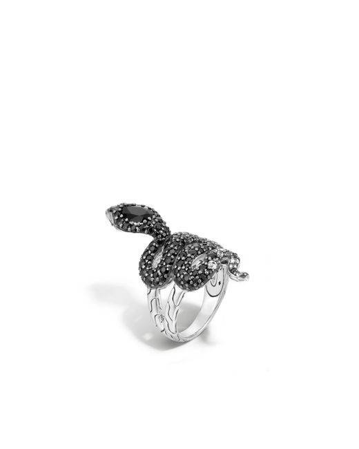 John Hardy | Metallic Cobra Ring With Black Chalcedony And Diamonds | Lyst
