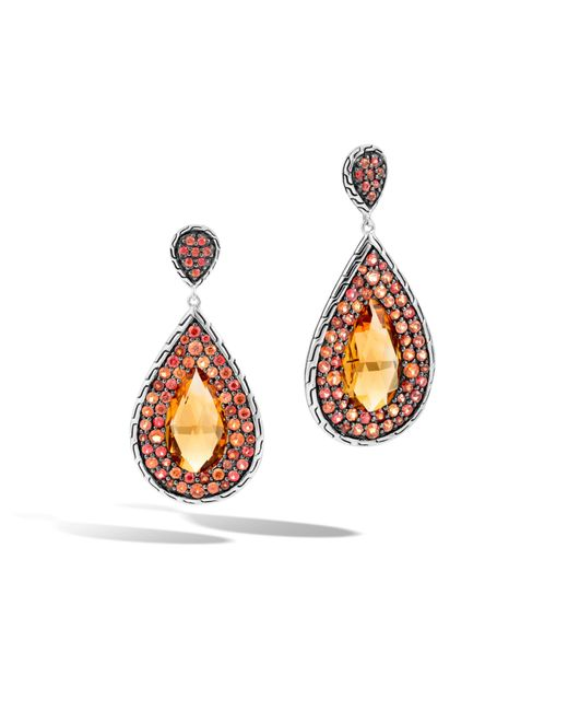 John Hardy | Multicolor Classic Chain Drop Earring With Citrine | Lyst