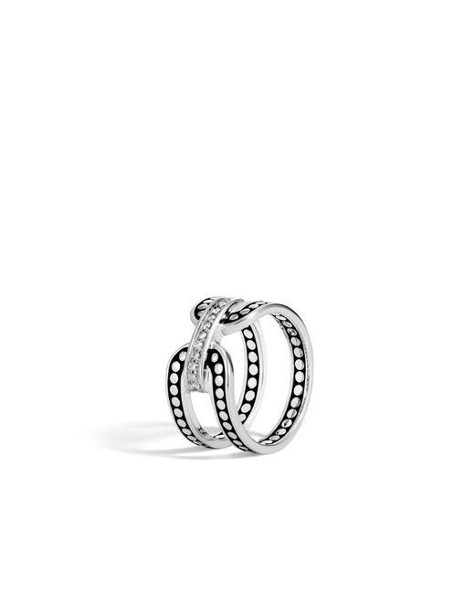 John Hardy - Metallic Band Ring In Silver With Diamonds - Lyst