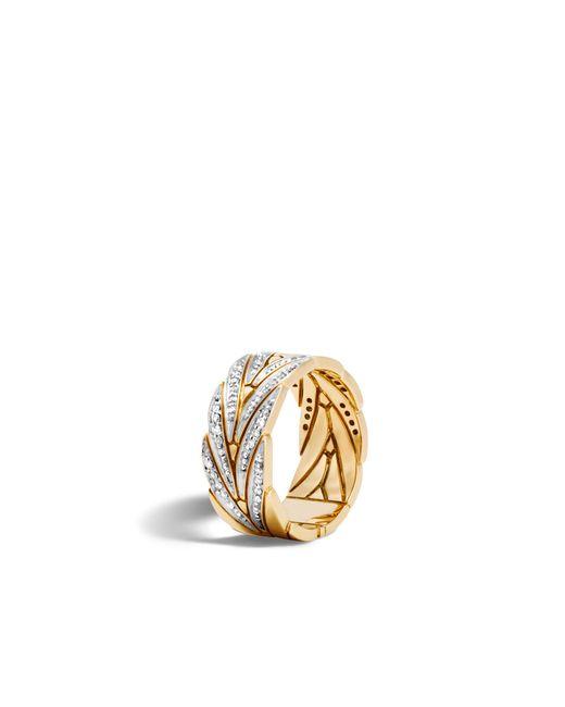 John Hardy - White Modern Chain Band Ring With Diamonds - Lyst