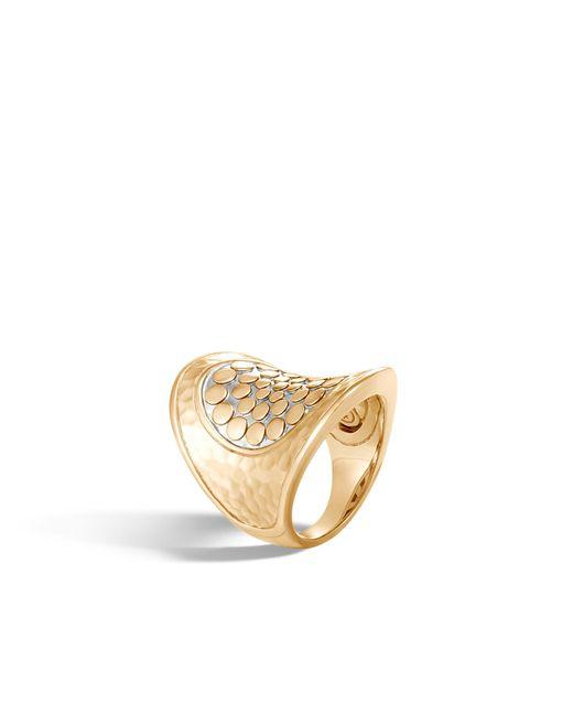 John Hardy - Metallic Hammered Saddle Ring With Diamonds - Lyst