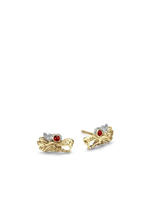 John Hardy - Red Naga Stud Earring With Diamonds - Lyst