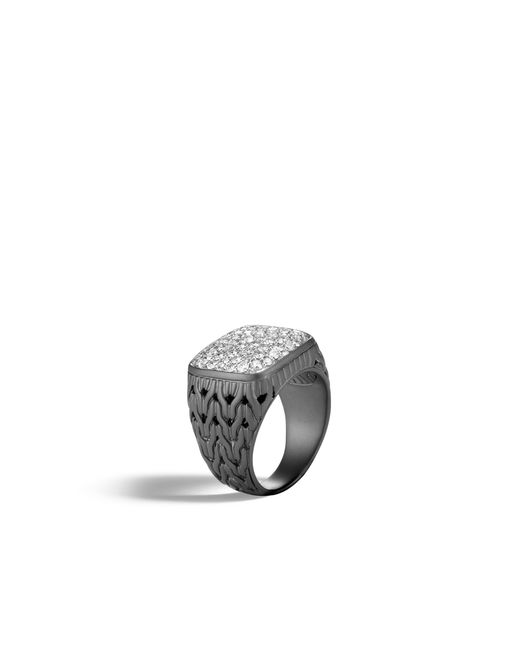 John Hardy - Multicolor Classic Chain Signet Ring With Diamonds for Men - Lyst