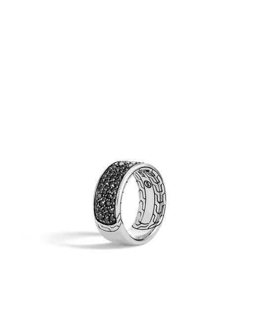 John Hardy - Classic Chain Band Ring With Black Sapphire And Spinel for Men - Lyst