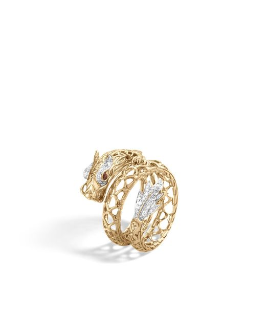 John Hardy - Red Naga Coil Ring With Diamonds - Lyst