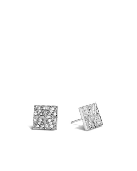 John Hardy | White Modern Chain Stud Earring With Diamonds | Lyst