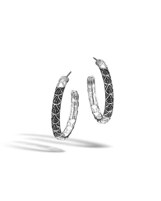 John Hardy - Metallic Naga Medium Hoop Earring With Black Sapphire - Lyst
