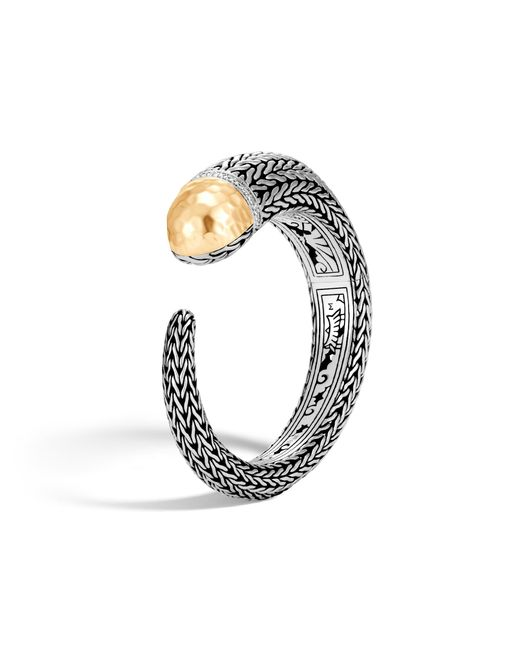 John Hardy | Metallic Classic Chain Hammered Kick Cuff With Diamonds | Lyst