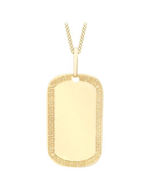 Ib&b - Metallic 9ct Yellow Gold Grecian Dog Tag Pendant - Lyst