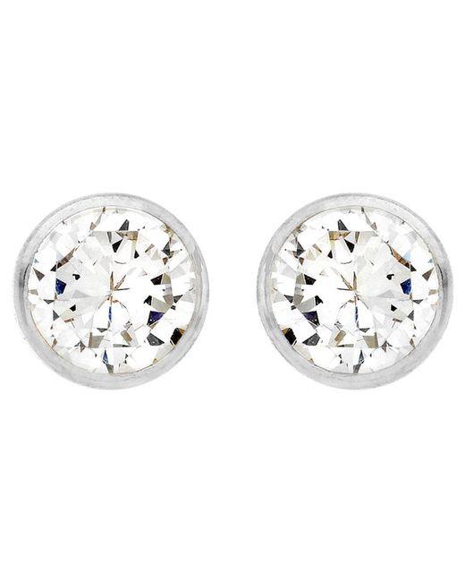 Ib&b - Metallic 9ct White Gold Small Rubover Cubic Zirconia Stud Earrings - Lyst