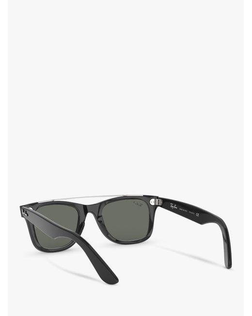 bc02bfe8cc5 ... Lyst Ray-Ban - Black Rb4540 Women s Polarised Wayfarer Double Bridge  Sunglasses ...