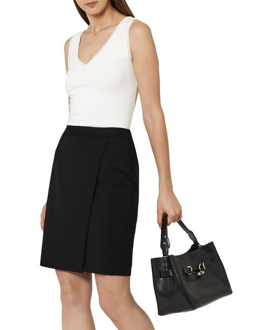 Reiss | Black Tailored Wrap Skirt | Lyst