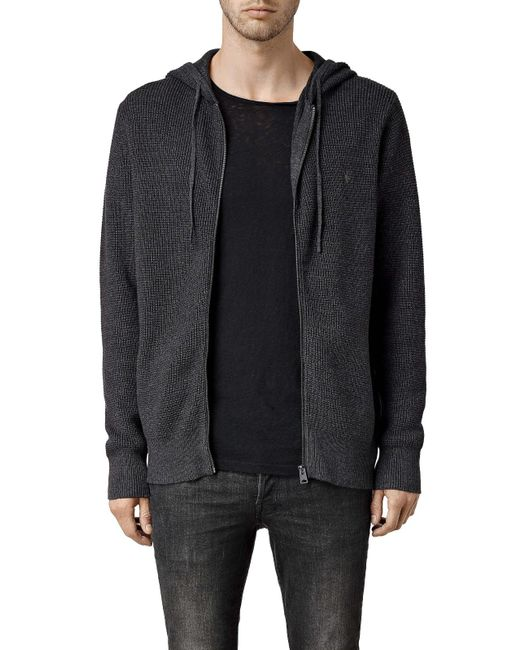 AllSaints | Black Trias Chunky Knit Cotton Hoodie for Men | Lyst
