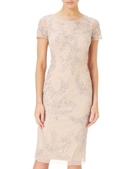 papell tea length beaded dress in lyst