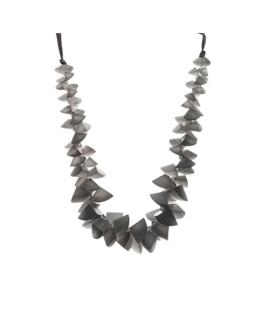 One Button   Gray Segments Clusters Cord Necklace   Lyst