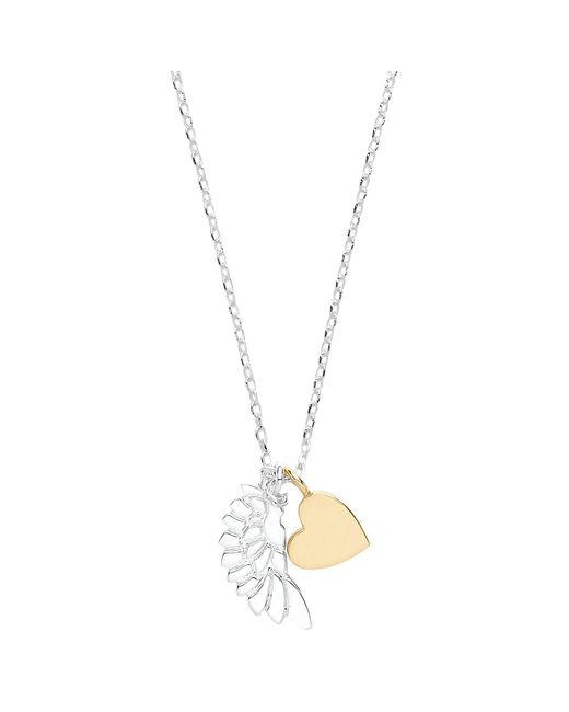 Estella Bartlett - Metallic Wing And Heart Pendant Necklace - Lyst