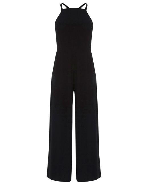 Warehouse Strappy Culotte Jumpsuit in Black