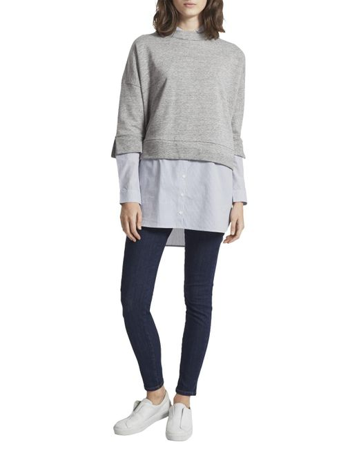 French Connection | Gray Dune Mix Oversized Sweatshirt | Lyst