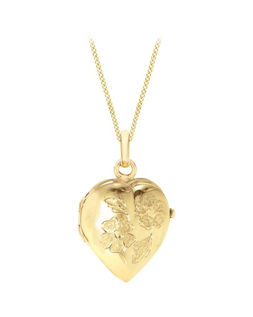 Ib&b - Metallic 9ct Yellow Gold Heart Daisy Locket Curb Chain Necklace - Lyst