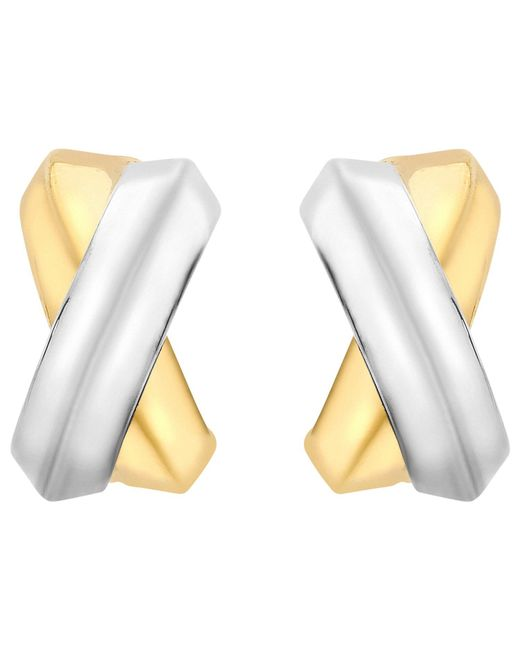 Ib&b | Metallic 9ct Gold Two Colour Crossover Kiss Stud Earrings | Lyst