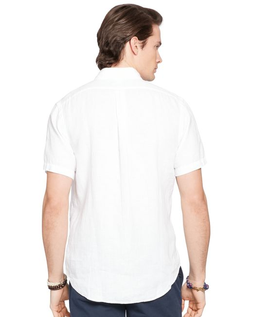 Pink pony polo slim fit button down linen shirt in white for Slim fit white linen shirt