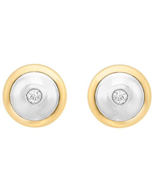 Ib&b | Metallic 9ct Gold Cubic Zirconia Disc Stud Earrings | Lyst