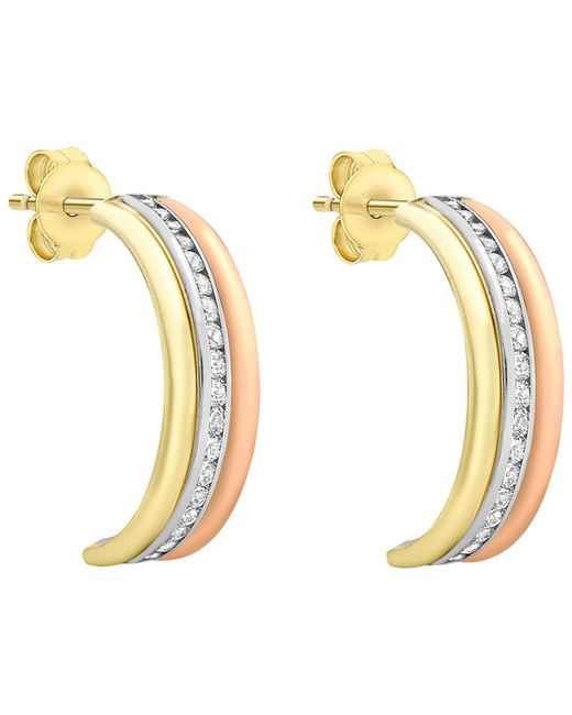 Ib&b | Multicolor 9ct Gold Three Tone Half Hoop Earrings | Lyst
