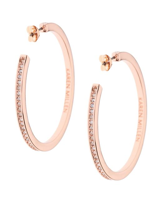 Karen Millen | Pink Large Crystal Hoop Earrings | Lyst