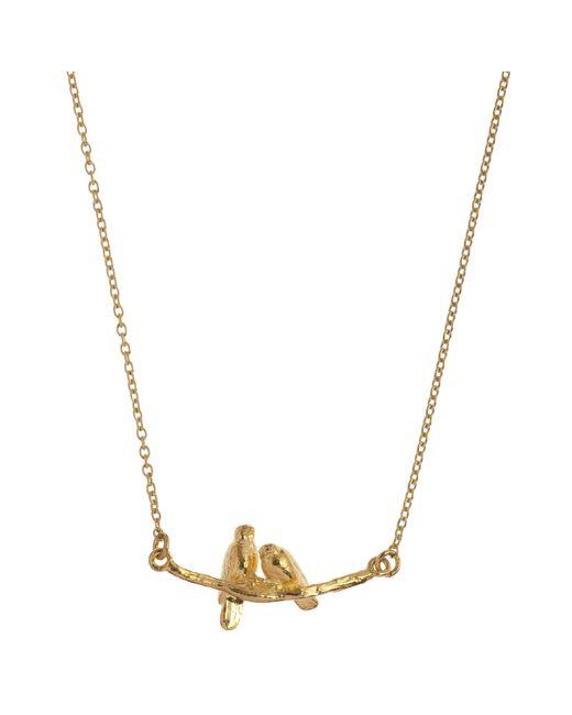 Alex Monroe | Metallic 22ct Gold Vermeil Lovebirds Branch Pendant Necklace | Lyst