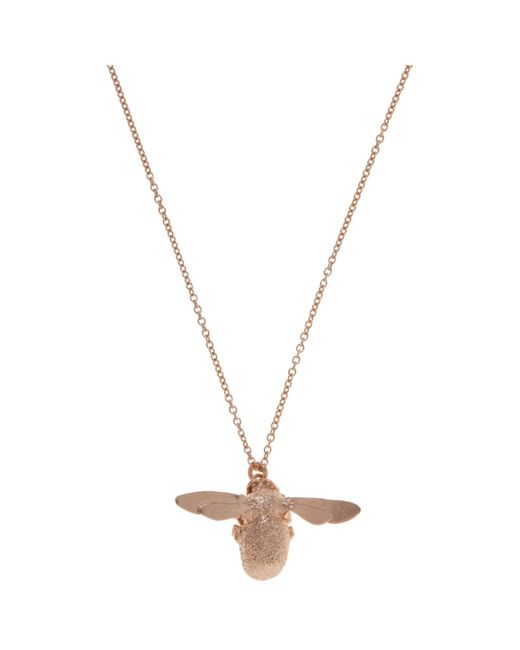 Alex Monroe | Pink 22ct Rose Gold Vermeil Bee Pendant Necklace | Lyst